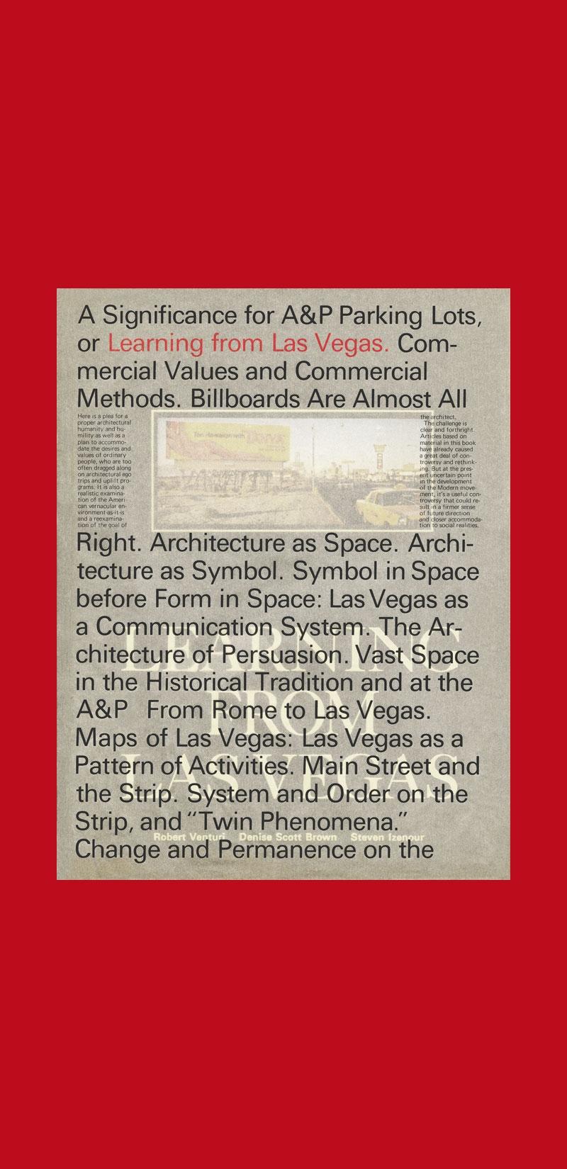Venturi, Scott Brown, Izenour: Learning from Las Vegas