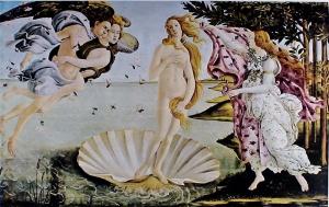 <p>'De geboorte van Venus' van Sandro Botticelli (ca. 1483, Uffizi, Firenze)</p>