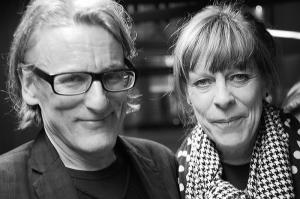 <p>Veerle Wenes van Valerie Traan Gallery en Johan Boeykens van Copyright Bookshop</p>