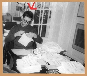 <p>Artist Patrick Van Caeckenbergh at our home at that time at Coupure Ghent, addressing and franking the invitations for what would be his first solo exhibition.</p>