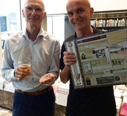 <p>Kunstcriticus Wim Van Mulders en Jos Van den Bergh, artistiek directeur Cinema Zuid, Antwerpen.</p>
